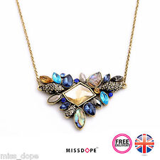 NEW MULTI COLOR SMALL RHINESTONE GOLD VINTAGE LUXURY NECKLACE PENDANT WOMENS UK