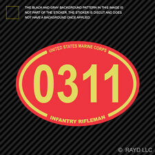 United States Marine Corps MOS 0311 Infantry Rifleman Red Oval Sticker usmc
