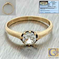 1880s Antique Victorian 14k Solid Gold .48ct Diamond Engagement Ring EGL