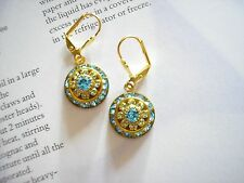 Vintage Dome Earrings with Swarovski Aquamarine & Pale Peridot Crystals Art Deco