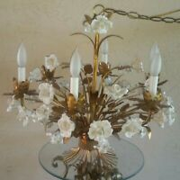 French Gold Gilt & Cream Enameled 33 Roses Tole Chandelier HOLLYWOOD REGENCY