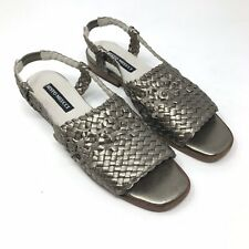 Sesto Meucci Women 7N Metallic Silver Woven Leather Slingback Sandals Gray Italy