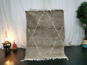 "Moroccan Beni Ourain Handmade Carpet 3'7""x4'6""  Geometric Berber Gray Wool Rug"