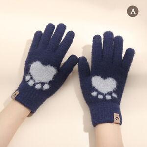 Autumn Winter Women's Gloves Touchscreen Cat Paw Pattern Warm Split Finger Gl F&