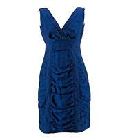 Nanette Lepore Women's Blue Sea Maiden Sheath Sleeveless V-Neck Dress Size 4