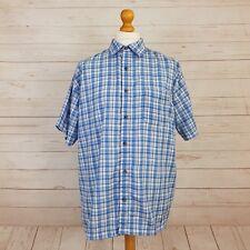 Regatta Great Outdoors Mens Blue White Check Short Sleeve Button Shirt Size XXL