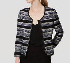 New-Size 4-AnnTaylor LOFT-Womens Blazer-Cropped Jacket Siesta-Aztec-Navy Striped