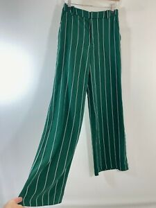 BNWOT H&M green stripe retro wide leg trousers size 8