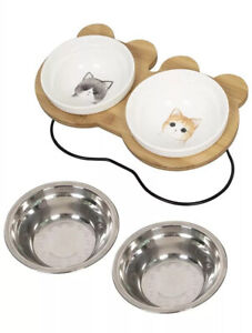 Ceramic Tilt Angle Elevated Raised Pet Food Water Bowl w/ Stand For Cats/Kittens