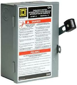 Disconnect Electric Box 30-Amp 240 Vac Single Phase Protection Arcing Switching