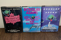 Douglas Adams 1st ED 3 Book Lot Hitchhiker's Guide to the Galaxy