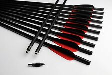 "Handmake 12PK Red Black Crossbow Bolts 21"" Carbon Arrows 125gr points Hunting"