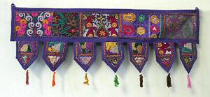 Embroidered Indien Purple patch work cotton Door Hanging Toran Vintage Valances