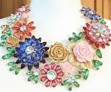 MASSIVE COLORFUL SPRING TIME FESTIVAL OF FLOWERS RESIN CELLULOID RUNWAY NECKLACE