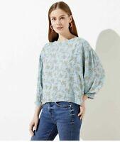 Loft Women Floral Dot Mixed Media Blouse Aqua Size S Small