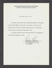 John F. Kennedy - mourning broadside for military parade held day after death