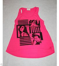 Womens Tank Top BRIGHT PINK Fashion MODELS Flared Bottom L 12-14 LONGER BACK
