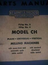 Kearney Amp Trecker Milwaukee Model Ch Milling Machines Part Manual Nos 3 Amp 4