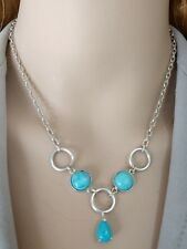 Fantastic Sleeping Beauty Turquoise 925 Sterling Silver Necklace 16""
