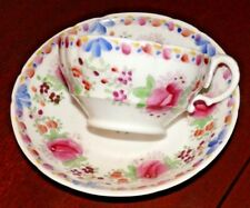 Antique Porcelain HAND PAINTED Teacup & Saucer-beautiful delicate FLORAL Design
