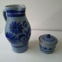 Vintage German Pottery Grey and Cobalt Blue Salt Glazed Jug & Container Vucht