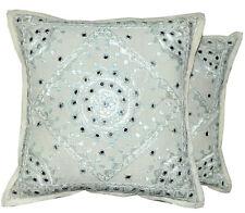 2pc White decorative Throw Pillow Indian Mirror Work Floor Pillows