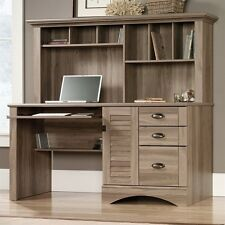 Sauder Harbor View Computer Desk with Hutch in Salt Oak Home Office