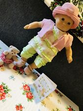 American Girl Bitty Baby Doll Pink Green Fresh Flowers Outfit Set EUC