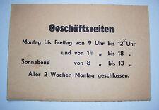 Pappschild Öffnungszeiten Geschäftszeiten 1950er 1960er loft vintage deko (nr2