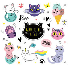iron on patches cat heat transfer badges washable clothing deco diy applique
