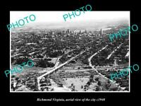 OLD LARGE HISTORIC PHOTO OF RICHMOND VIRGINIA AERIAL VIEW OF THE CITY c1940 1