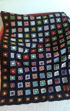 "Vintage Afghan Granny Squares Homemade Crocheted 68"" x 52""  Black & Multi Color"