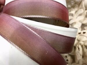 """Vintage Rayon Acetate Ribbon 5/8"""" wire OMBRE 1yd Rose Gold Made in France"""