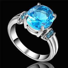 Gorgeous Blue CZ Aquamarine Wedding Ring 18K White Gold Filled Women's Size 6