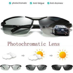 Polarized Photochromic Sunglasses Mens Pilot UV Night Vision Goggles Sun Glasses