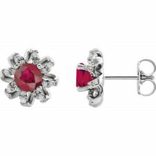 Ruby & 1/6 CTW Diamond Halo-Style Earrings In Platinum
