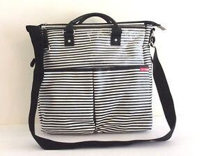 Skip Hop Black/ White Stripes Multi pockets Carry All Travel Diaper Bag Tote