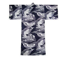 "Japanese Men's 58""L Kimono Cotton Yukata Lucky KOI Fish Pattern/MADE IN JAPAN"