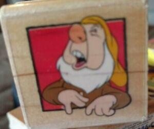 Snow White, sneezies portrait, rubber stampede, Disney,94,rubber,stamp, wooden