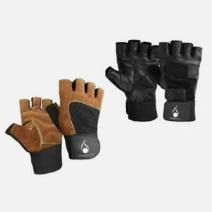 Men's Genuine Leather Gloves Gym Workout Weight Lifting Bodybuilding With Strip