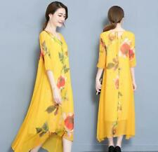 b01febe54560 Womens Floral Mulberry Silk Printing Dress Loose Fit Casual Midi Gown Plus  Sz