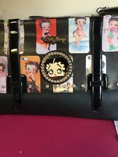 """Betty Boop"" Grande Negro/Cartera de colegial Bolso de mensajero con fotos de Betty!!!"