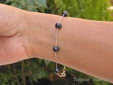 Black Cultured Freshwater Pearl Tincup Bracelet 7-8mm 925 SOLID Sterling Silver