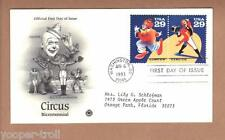 1993 BIG TOP SHOWMAN Circus Ring Master 2750 2751 FDC Elephant Performers UNIQUE