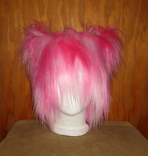 NEW PINK MONSTER FUR KITTY CAT EAR HAT ANIME COSPLAY RAVER BURNER COSTUME WIG