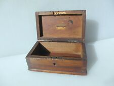Vintage Wooden Box Brass Hinges Storage Old Crate Wood Antique Money Donation 8""