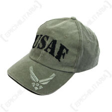 Green USAF Baseball Cap - Air Force Peaked Sun Hat American Cotton One Size New