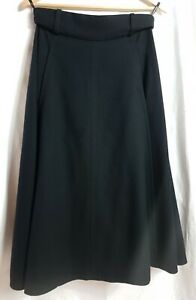 YVES ST. LAURENT Pure Wool Midi Swing Skirt with Pockets Size 12 (42)