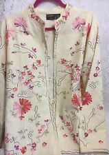 Women's Indian Hand Embroidered Floral Nehru Jacket National Geographic XL