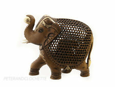 GRAND ELEPHANT BOIS  TROMPE EN L AIR SCULPTURE INDIENNE D' ART DE DENTELLE  9691